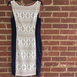 Anne Klein navy & lace panel sheath dress